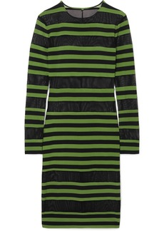 Norma Kamali Striped Stretch-jersey And Mesh Dress