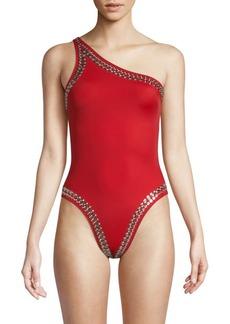 Norma Kamali Studded One-Shoulder Swimsuit