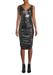 Norma Kamali Tara Shirred Cocktail Dress in Metallic Jersey