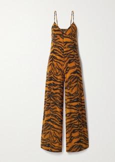 Norma Kamali Tiger-print Stretch-jersey Jumpsuit