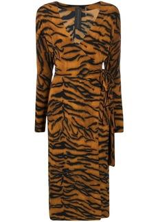 Norma Kamali tiger print wrap dress