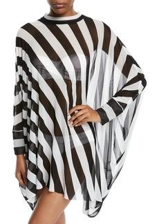 Norma Kamali Turtle Striped Long-Sleeve Coverup Poncho