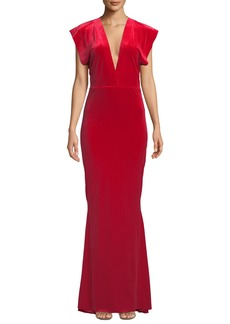 Norma Kamali V-Neck Velvet Rectangle Gown
