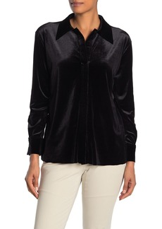 Norma Kamali Velvet Button Down Shirt