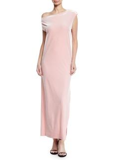Norma Kamali Velvet Drop-Shoulder Dress