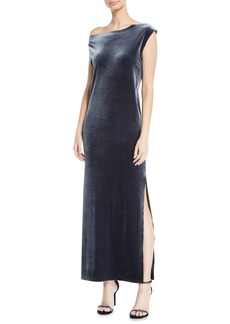 Norma Kamali Velvet Drop-Shoulder Dress