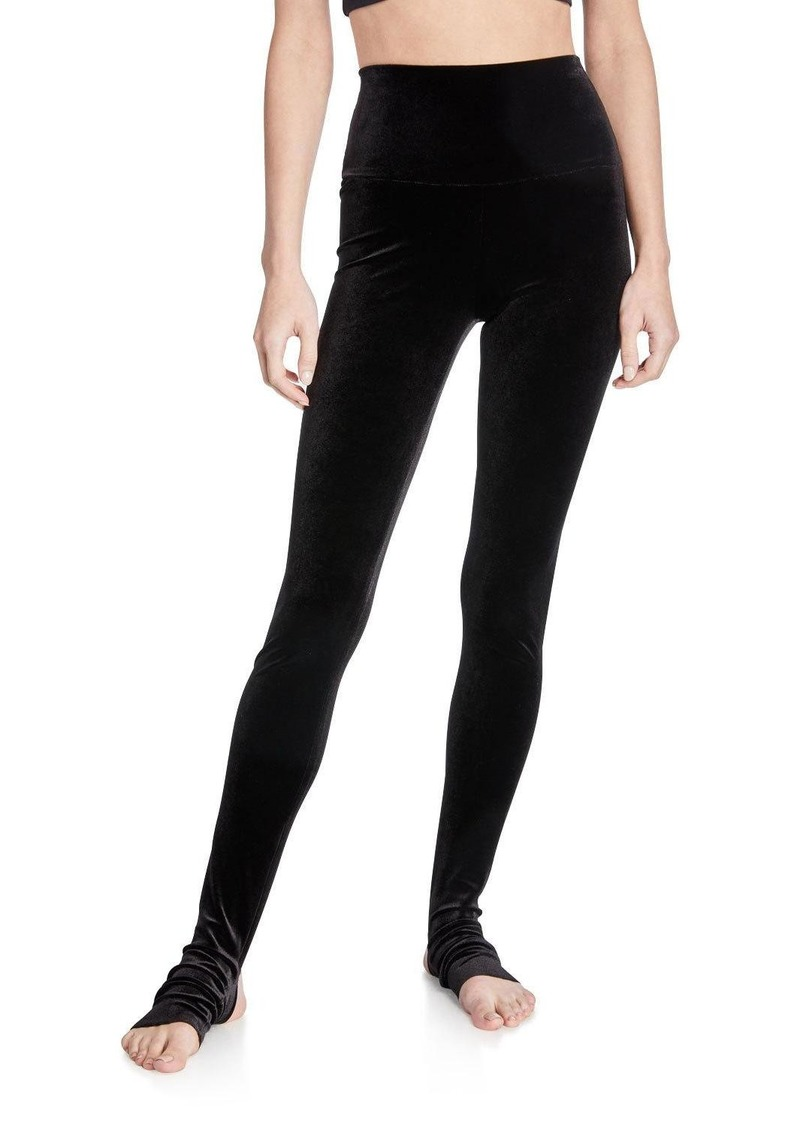Norma Kamali Velvet Leggings with Footie