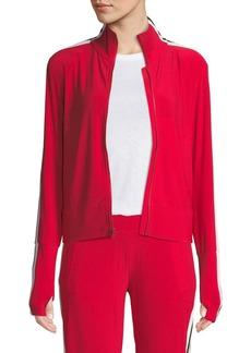 Norma Kamali Zip-Front Side-Stripe Turtleneck Track Jacket