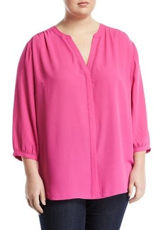 NYDJ Plus Size 3/4 Sleeve Button-Front Blouse