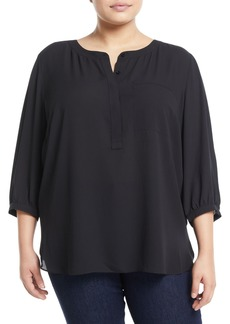 Not Your Daughter's Jeans 3/4-Sleeve Pleatback Chiffon Blouse