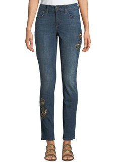 Not Your Daughter's Jeans Alina Golden-Embroidered Skinny Jeans