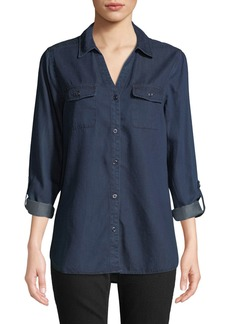 NYDJ Chambray Button-Front Blouse