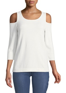 NYDJ Cold-Shoulder Three-Quarter Sleeve Sweater