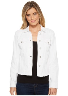Not Your Daughter's Jeans Denim Jacket w/ Fray Hem in Optic White