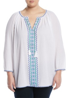 Not Your Daughter's Jeans Embroidered 3/4-Sleeve Peasant Blouse