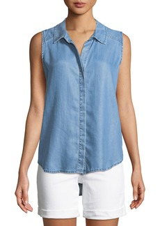 Not Your Daughter's Jeans Indigo Button-Front Sleeveless Blouse