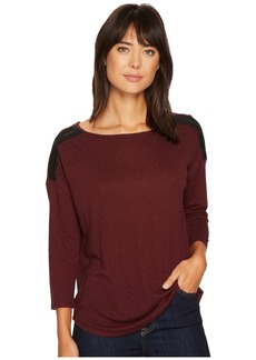 NYDJ Knit Top w/ Faux Leather Trim
