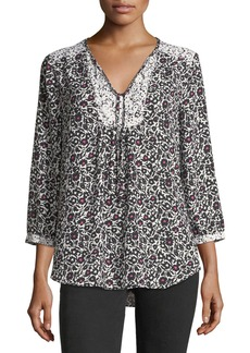 Not Your Daughter's Jeans NYDJ 3/4-Sleeve Graphic Floral-Print Peasant Top