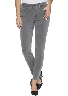NYDJ Ami Skinny Ankle Jeans w/ Fray Side Slit in Vintage Pewter