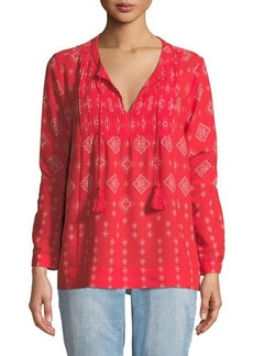 Not Your Daughter's Jeans NYDJ Bandana-Print Long-Sleeve Blouse
