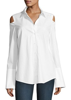 Not Your Daughter's Jeans NYDJ Carlotta Cold-Shoulder Button-Front Blouse