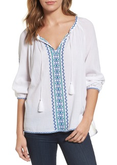 NYDJ Embroidered Peasant Blouse