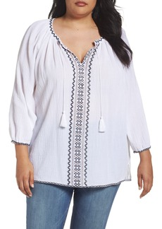 NYDJ Embroidered Peasant Blouse (Plus Size)