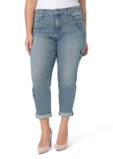 Not Your Daughter's Jeans NYDJ Floral Embroidery Boyfriend Jeans (Pacific) (Plus Size)