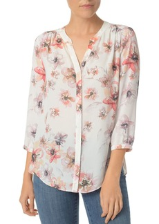 Not Your Daughter's Jeans NYDJ Floral Print Pleat-Back Blouse