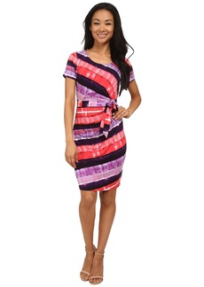 NYDJ Gabriella Printed Stripe Wrap Dress