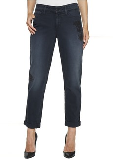 Not Your Daughter's Jeans NYDJ Jessica Boyfriend w/ Flower Embroidery in Blackfield