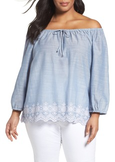 NYDJ Josephine Eyelet Embroidered Off the Shoulder Top (Plus Size)