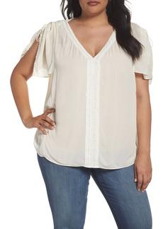 NYDJ Lace Flutter Sleeve Top (Plus Size)