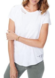 NYDJ Lace Inset Short Sleeve Shirt