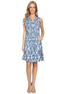 NYDJ Lana Blurred Ikat Pintuck Dress