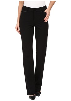 NYDJ Marilyn Straight Pants in Ponte Knit w/ Faux Leather Trim