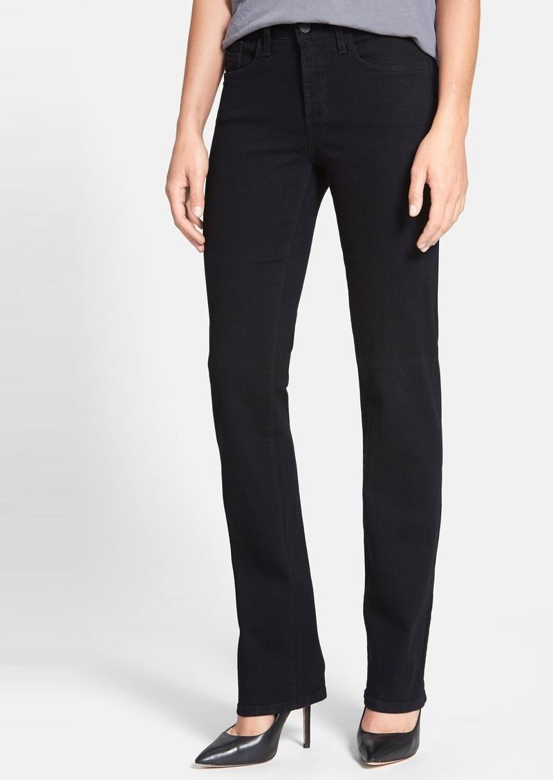 nydj nydj 39 marilyn 39 stretch straight leg jeans black. Black Bedroom Furniture Sets. Home Design Ideas