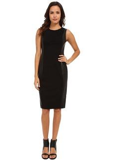 NYDJ Mia Ponte & Faux Leather Dress