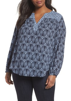 NYDJ Mixed Print Peasant Top (Plus Size)