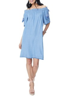 Not Your Daughter's Jeans NYDJ Off-The-Shoulder Chambray Shift Dress