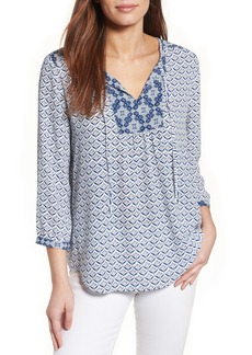 Not Your Daughter's Jeans NYDJ 'Patchwork Mosaic' Print Split Neck Blouse (Regular & Petite)