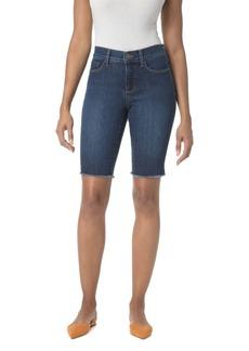 NYDJ Briella Frayed Denim Bermuda Shorts in Cooper