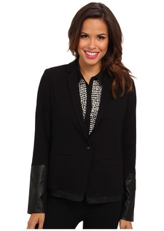 NYDJ Ponte & Faux Leather Blazer