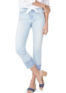 NYDJ Sheri High Waist Print Hem Ankle Slim Jeans (Palm Desert) (Regular & Petite)