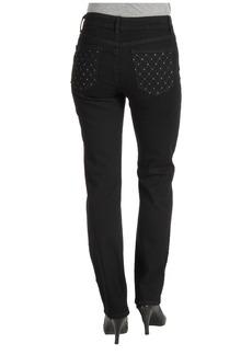 NYDJ Sheri Skinny w/ Embellished Pocket in Black Overdye
