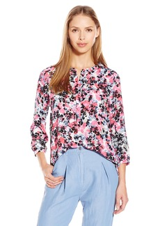 Not Your Daughter's Jeans NYDJ Women's 3/4 Sleeve Henley Pleat Back Blouse  Small