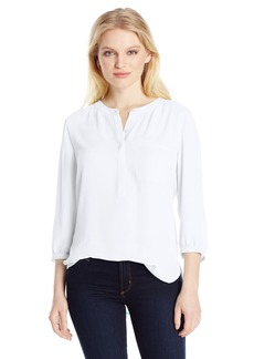 Not Your Daughter's Jeans NYDJ Women's 3/4 Sleeve Henley Pleat Back Blouse  X-Large