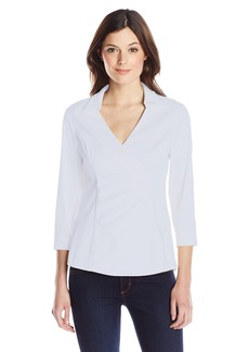 Not Your Daughter's Jeans NYDJ Women's 3/4 Sleeve Wrap Blouse W. Detachable Fit Solution  Large