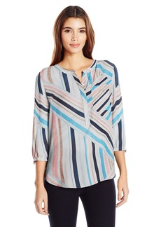 Not Your Daughter's Jeans NYDJ Women's Abstract 3/4 Sleeve Henley Pleat Back Blouse