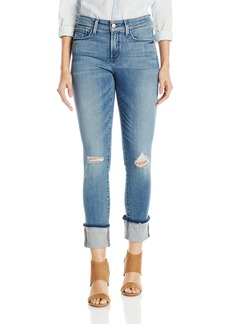 NYDJ Women's Alina Wide Cuff Skinny Ankle Jeans with Frayed Hem